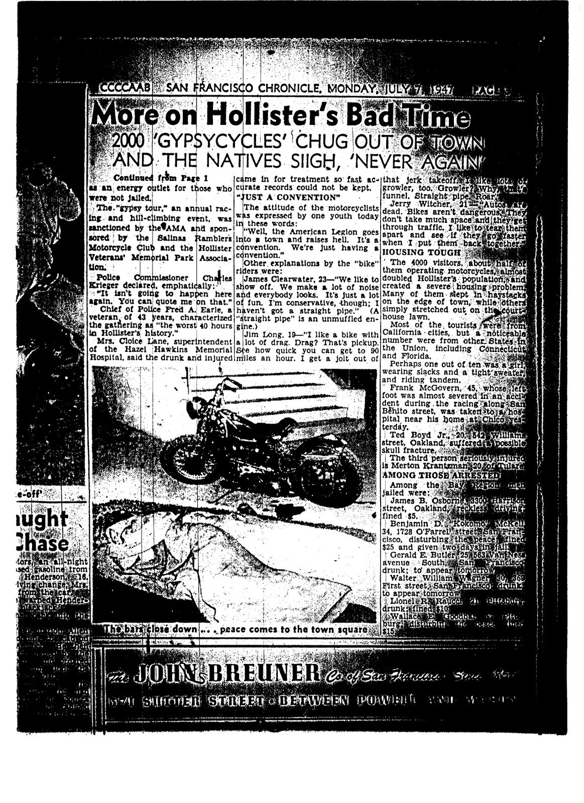 An incident at hollister facts fiction and the birth of the the local hollister newspaper the free lance naturally published the first reports on the weekend starting with a fairly mundane column reporting 49 buycottarizona