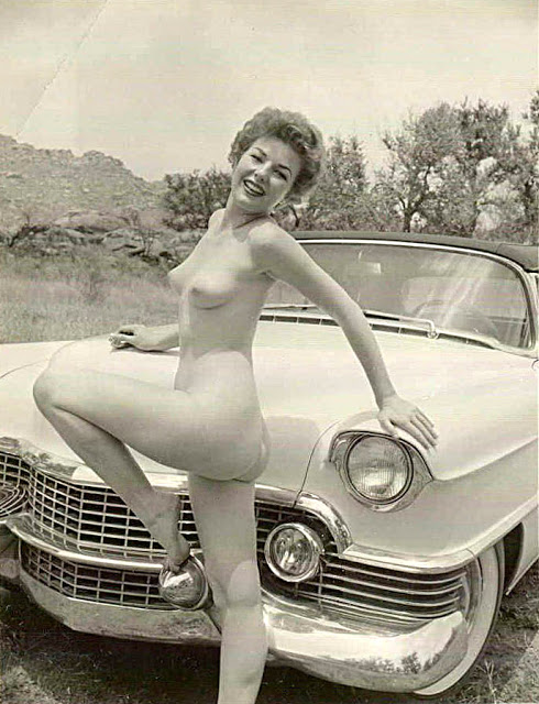 women and vintage cars naked
