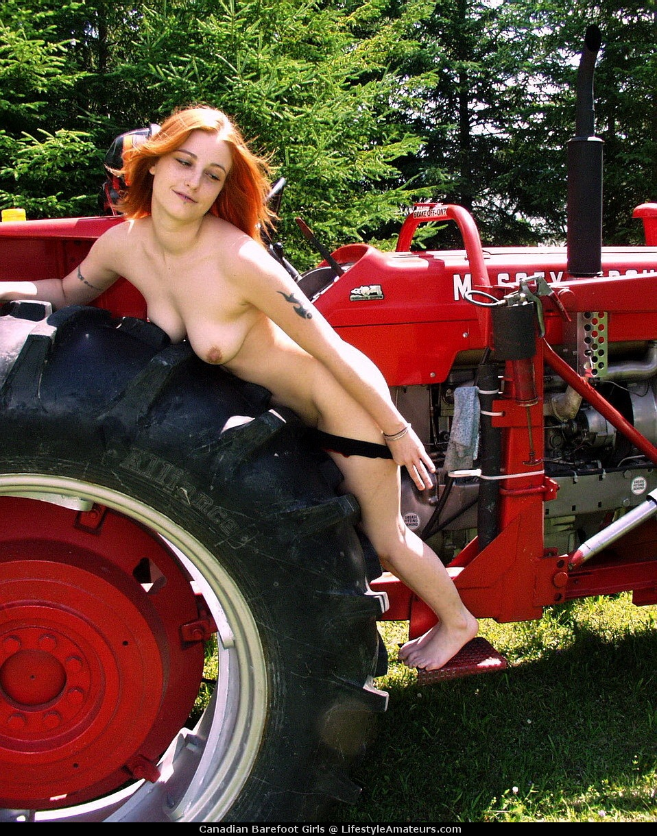 Naked women driving a tractor 10