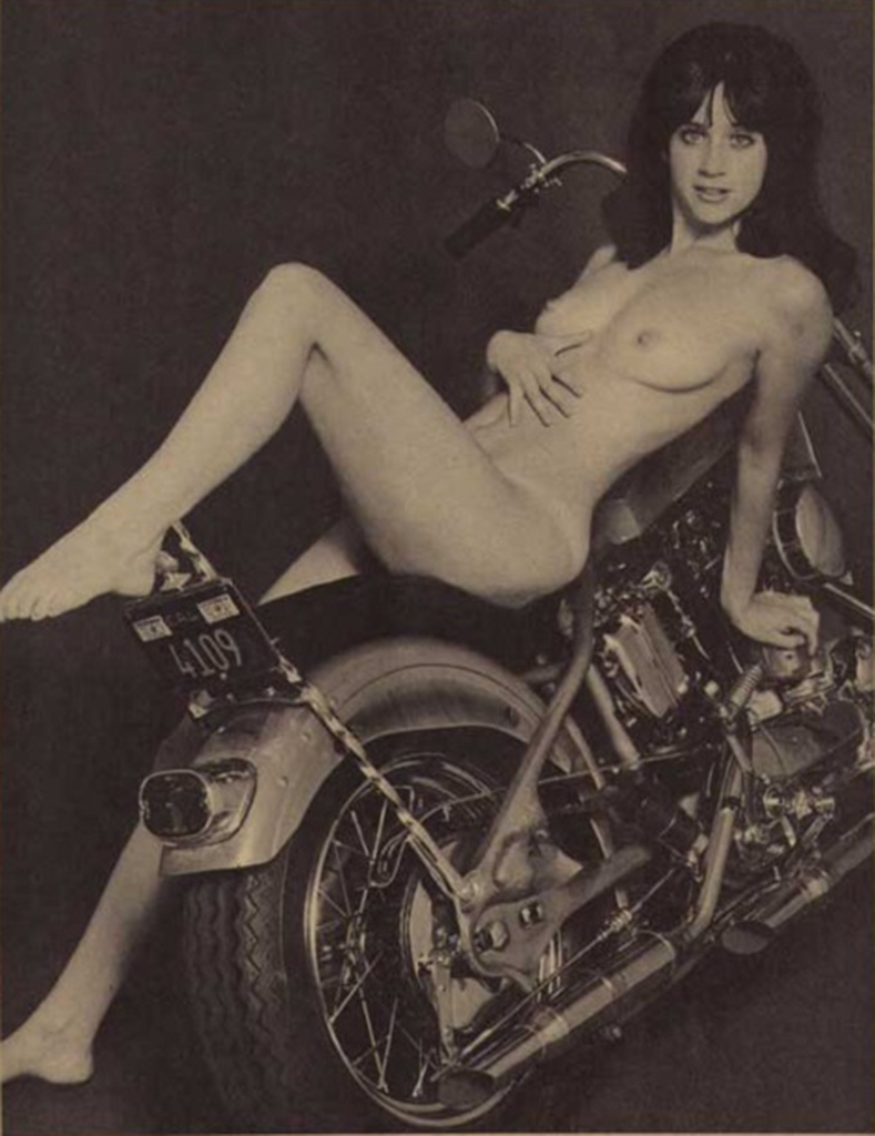 naked on Vintage motorcycles girls