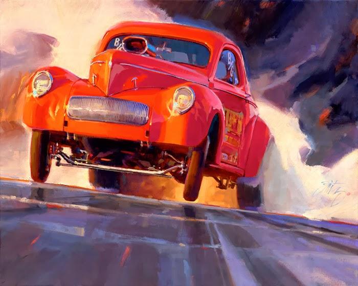 Auto Drag Racing Paintings