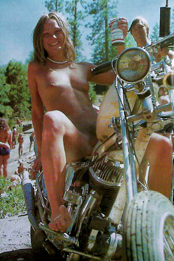 Topless biker chick bike week theme, will